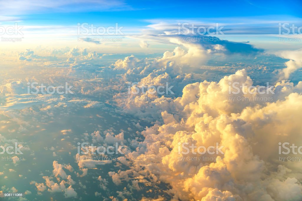 Aerial view of sunrise clouds from the sky stock photo