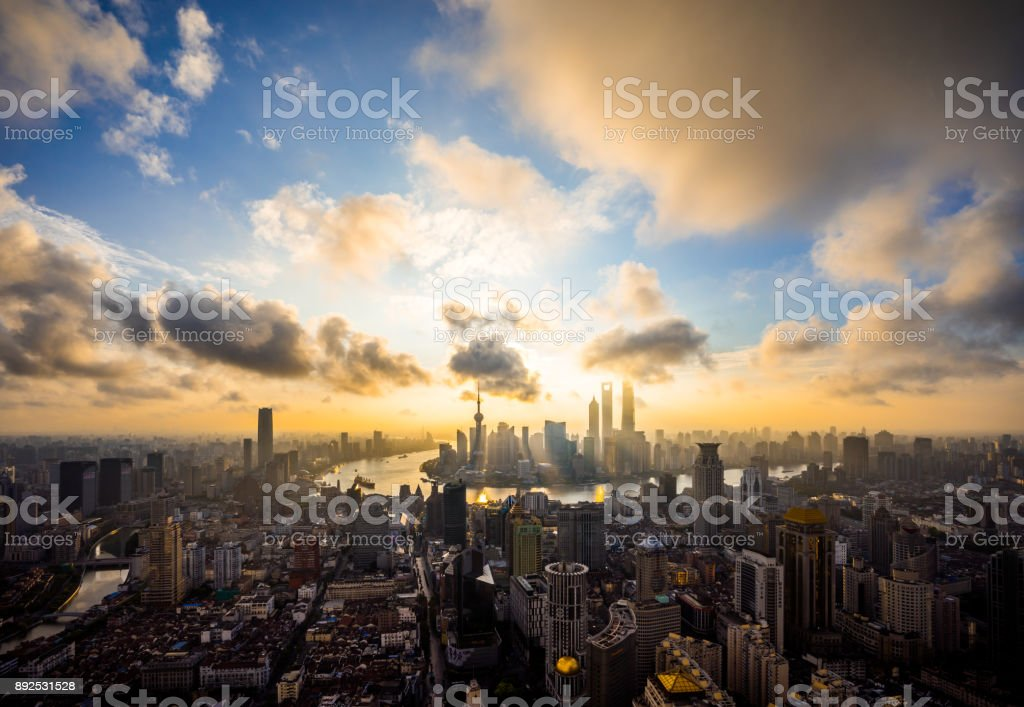 Aerial View of Sunrise in Shanghai stock photo