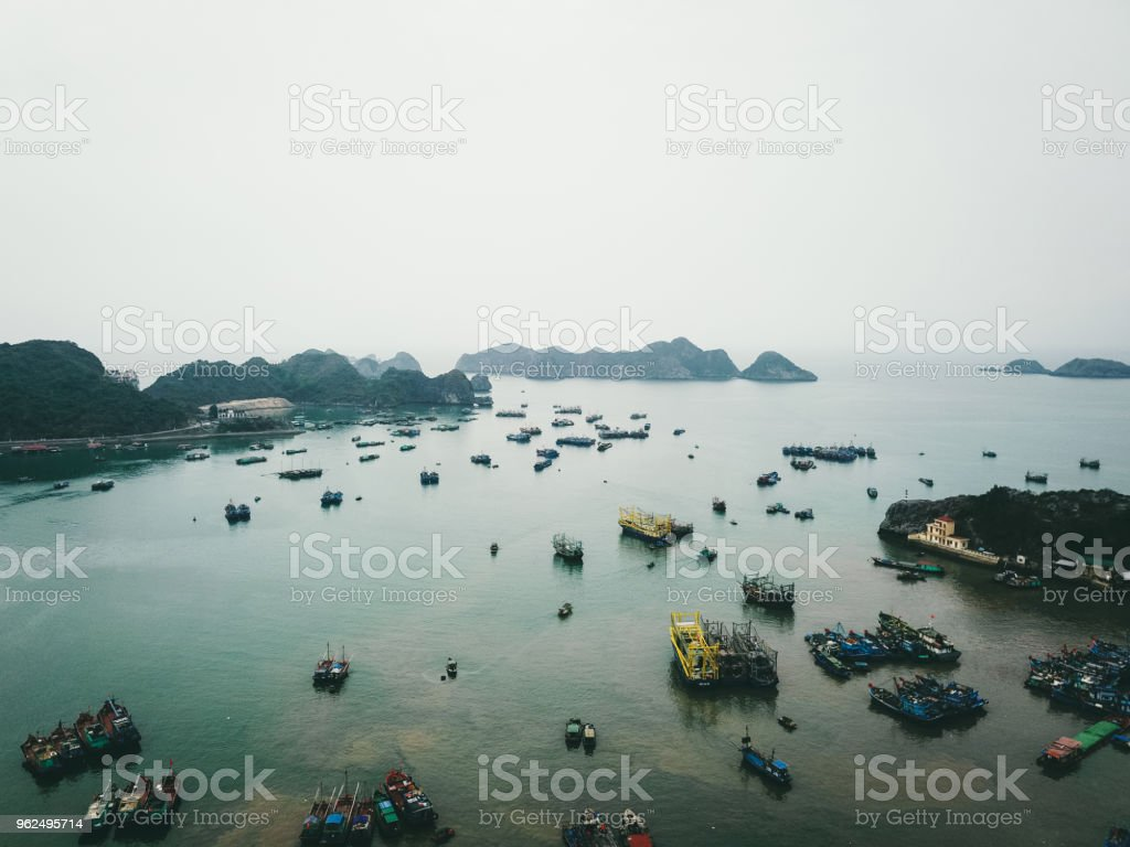 Aerial view of sunset above fishing boats and small islands near Cat Ba in Vietnam - Royalty-free Aerial View Stock Photo