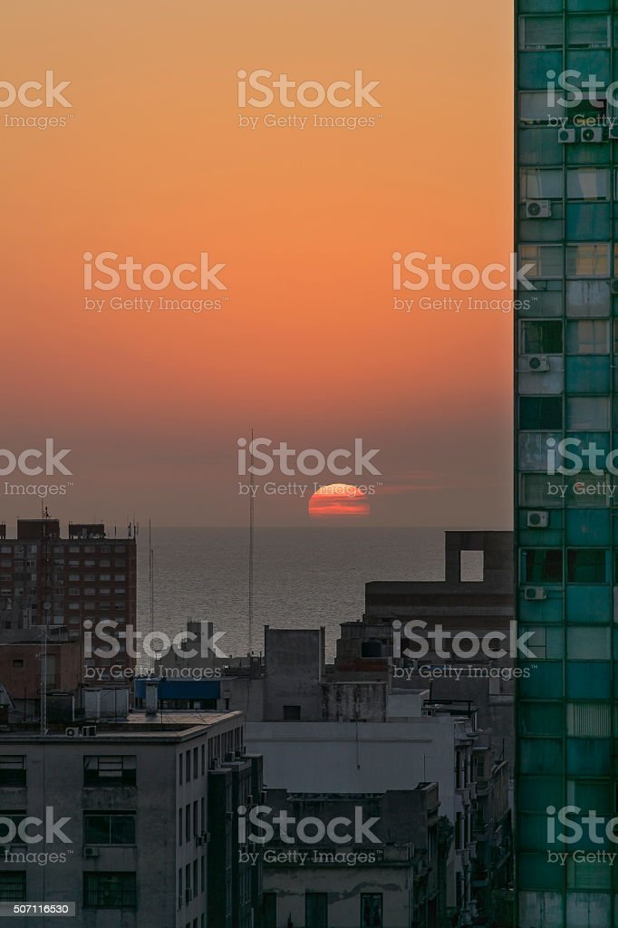 Aerial View of Sunset at the River in Montevideo Uruguay stock photo
