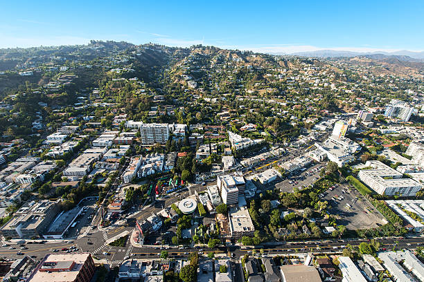 Aerial View of Sunset Boulevard in West Hollywood, California Aerial view of Sunset Boulevard in West Hollywood, California sunset boulevard los angeles stock pictures, royalty-free photos & images