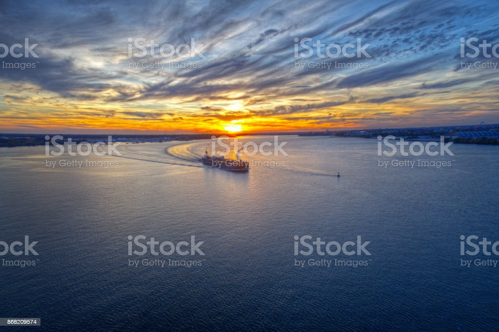 Aerial View of Sunset over Delaware River Philadelphia stock photo