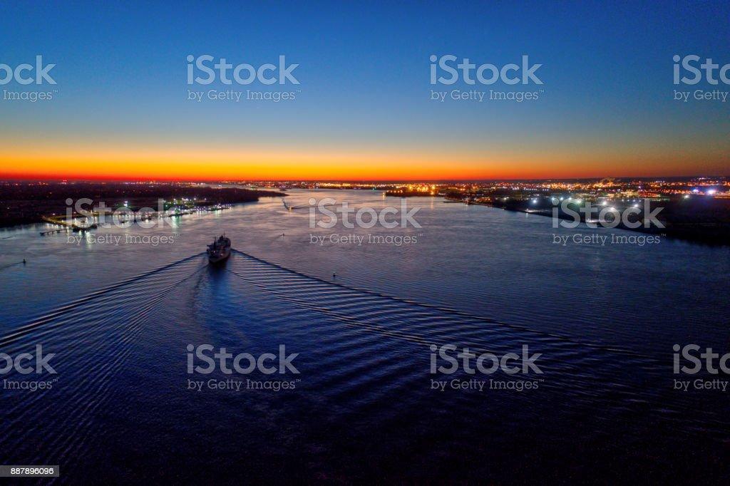 Aerial View of Sunset over Delaware River Philadelphia stock photo