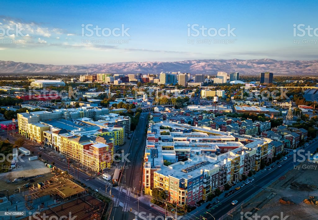 Aerial view of sunset over downtown San Jose in California stock photo