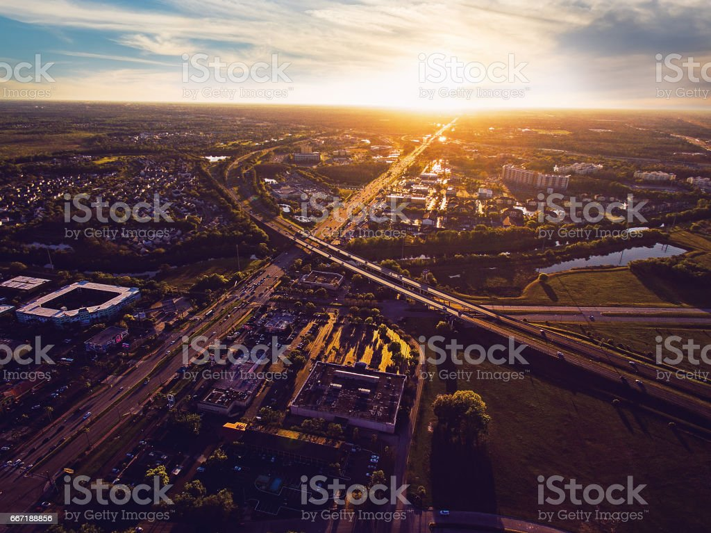 Aerial view of sunset over Kissimmee Florida stock photo