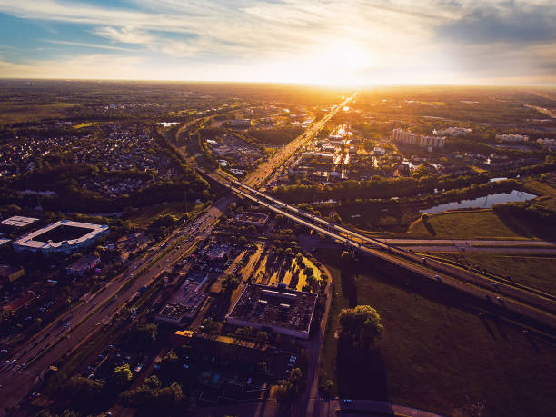 aerial view of sunset over kissimmee florida - kissimmee stock photos and pictures