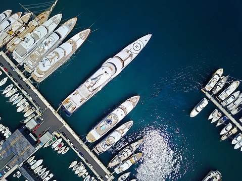 Aerial view of super yachts in harbor on the Mediterranean coast