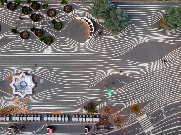 flygfoto över superkilen park i köpenhamn - drone copenhagen bildbanksfoton och bilder