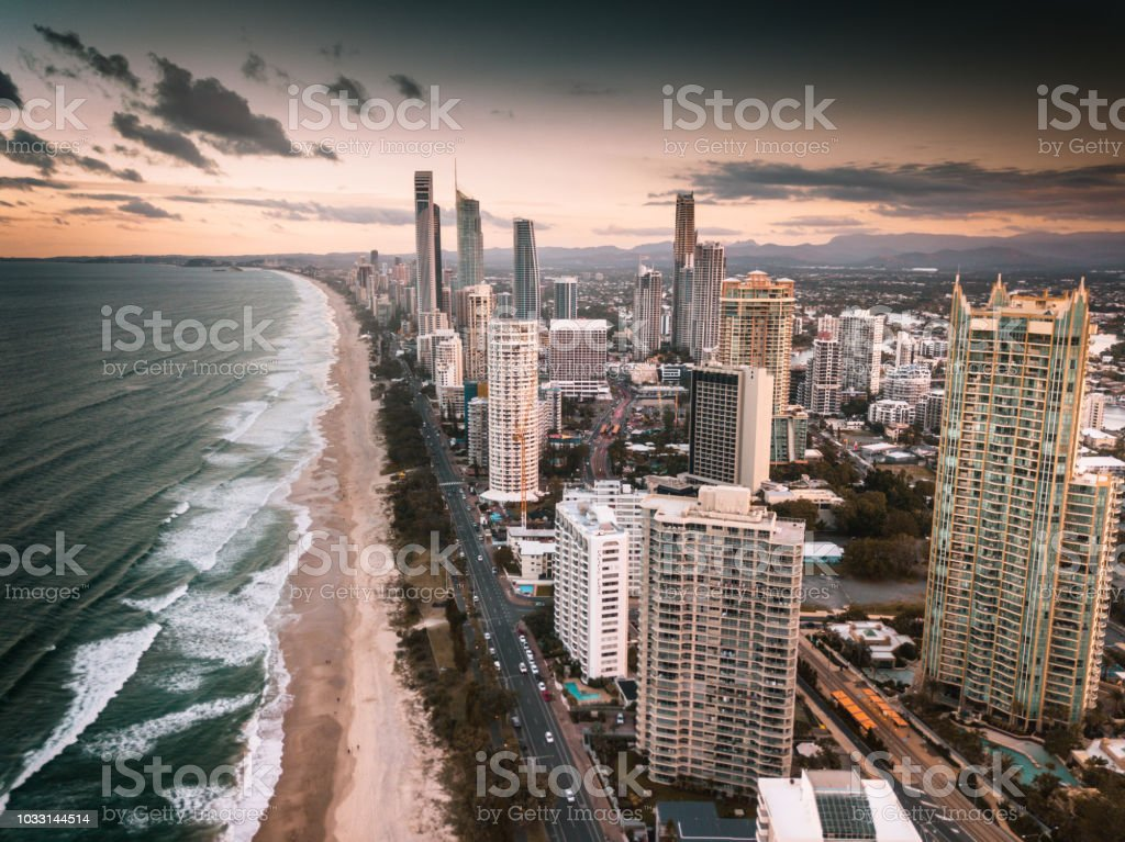 aerial view of surfers paradise beach stock photo