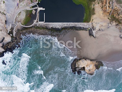 Aerial view of Sutro Bath Ruins and Seal Rock on Ocean Beach in San Francisco, California.