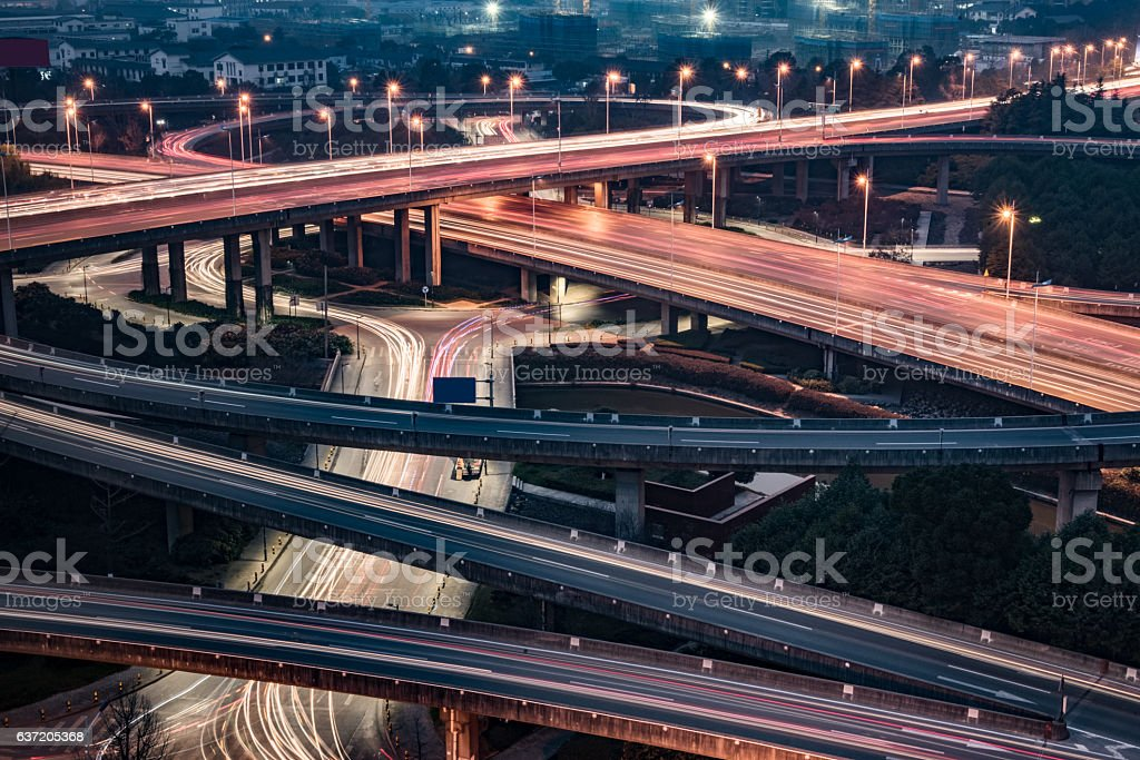 Aerial View of Suzhou overpass at Night stock photo