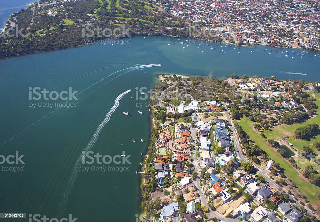 Aerial View of Swan river and suburbs in Perth, WA stock photo