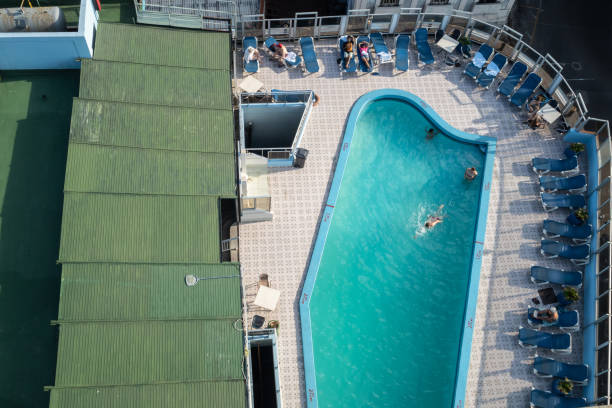 Aerial view of swimming pool in hotel, Havana stock photo