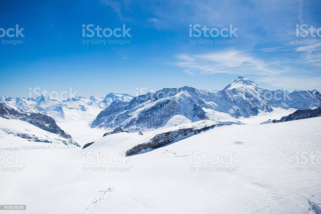 Aerial view of Swiss Alps mountains stock photo
