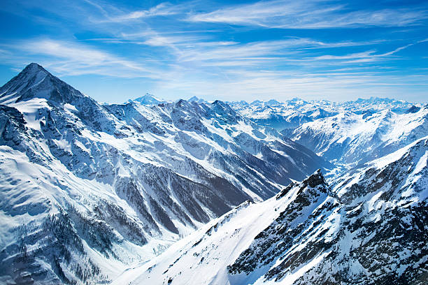 Aerial view of Swiss Alps mountains – Foto