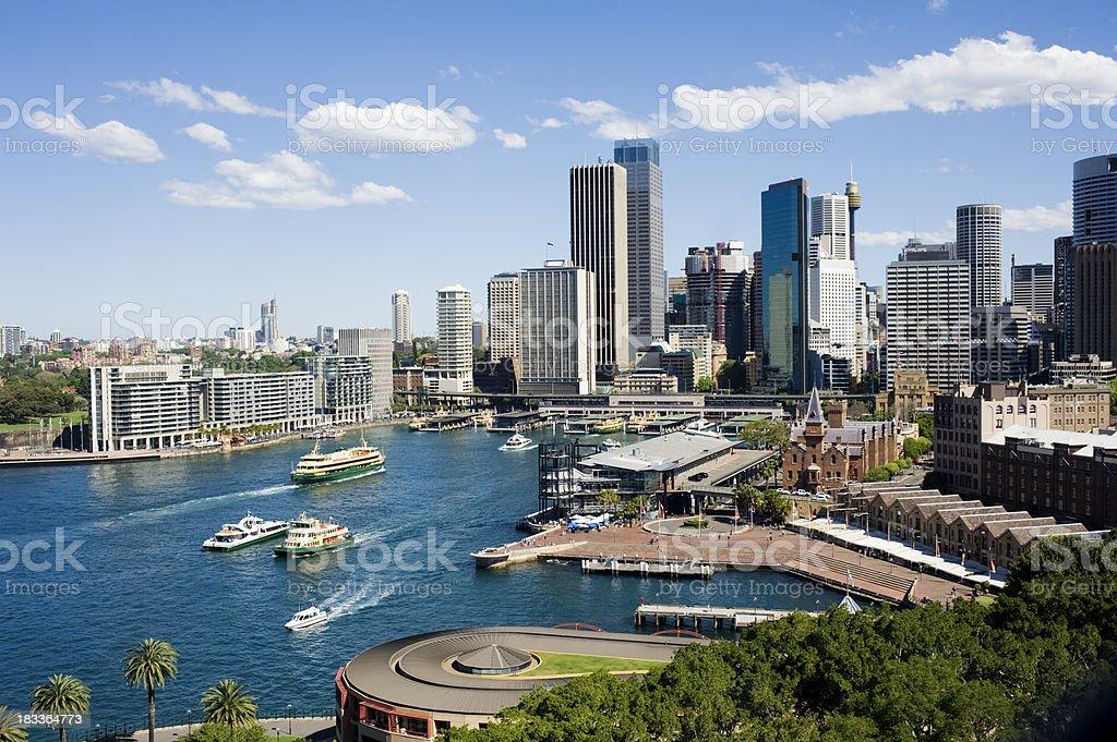 Aerial View of Sydney and Circular Quay City Skyline Australia stock photo