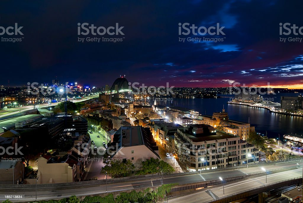 Aerial view of Sydney at Dawn stock photo