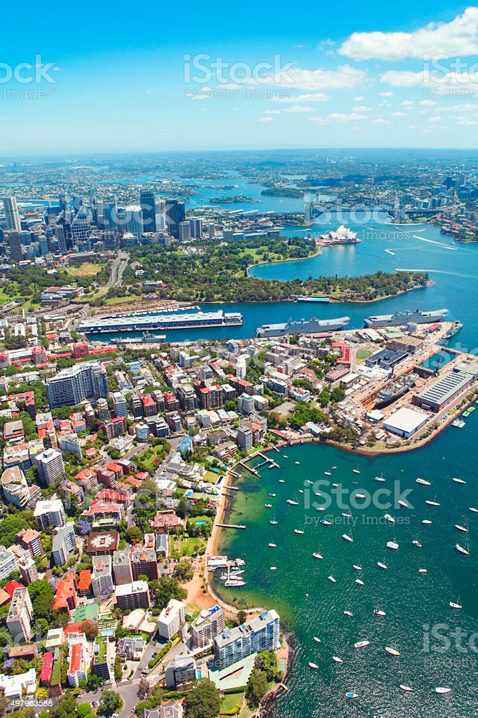 Aerial view of Sydney city stock photo