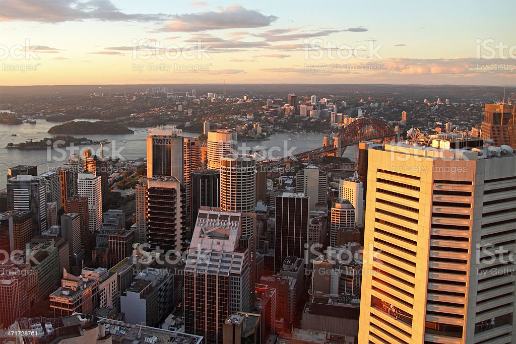Aerial view of Sydney during sunset stock photo
