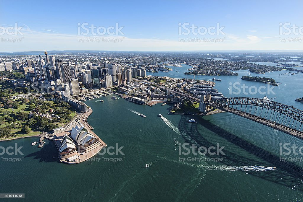 Aerial View of Sydney Harbor in Australia stock photo