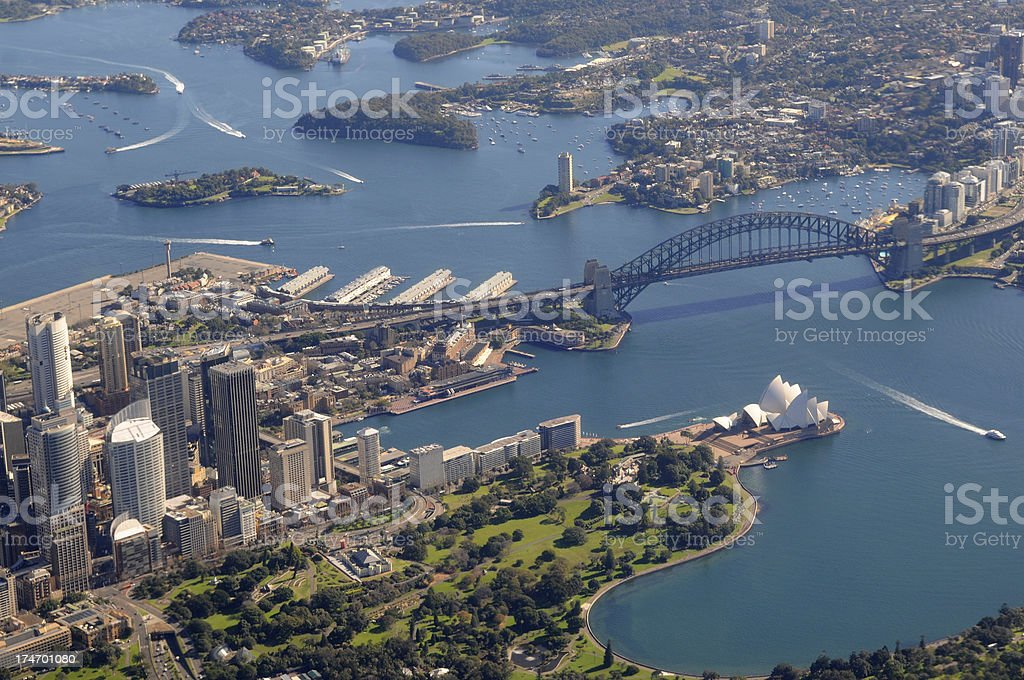 Aerial view of Sydney harbour bridge and opera house stock photo
