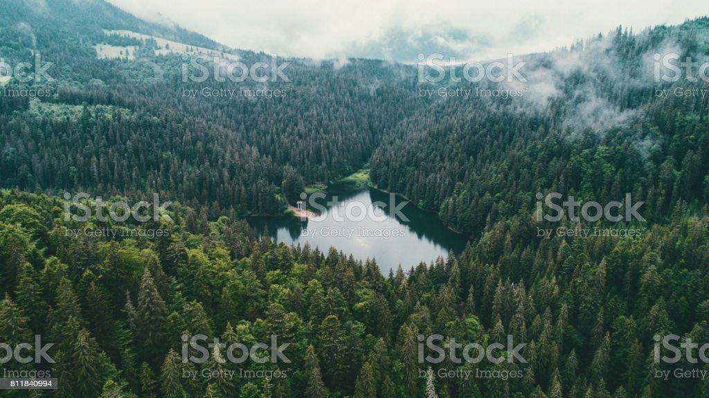 Luftaufnahme der See Sinewir in den Karpaten in der Ukraine – Foto