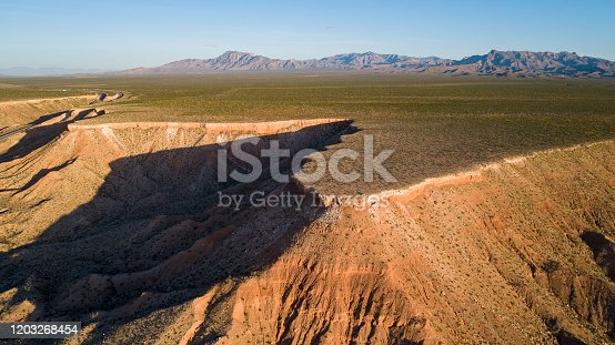 Highland plateau on table mountains in Nevada, USA, in the early spring.