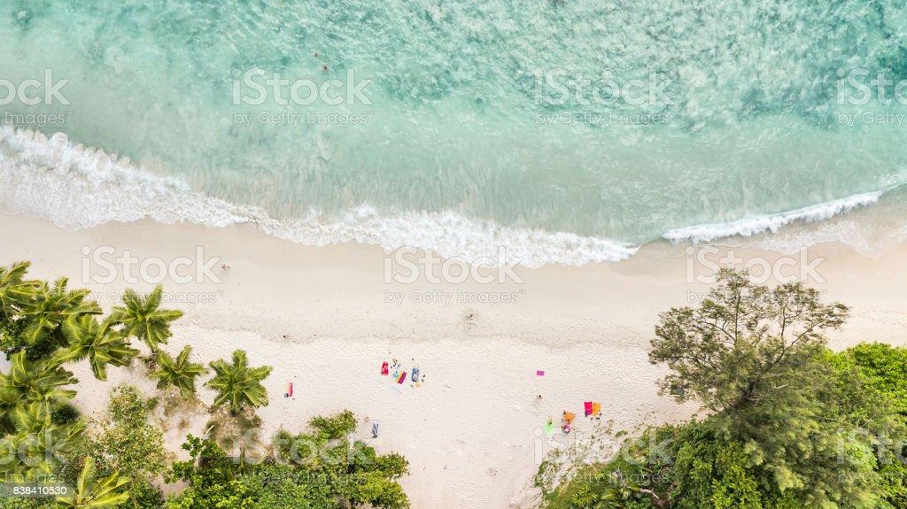 Aerial view of Takamaka Beach -  Mahe Island - Seychelles stock photo