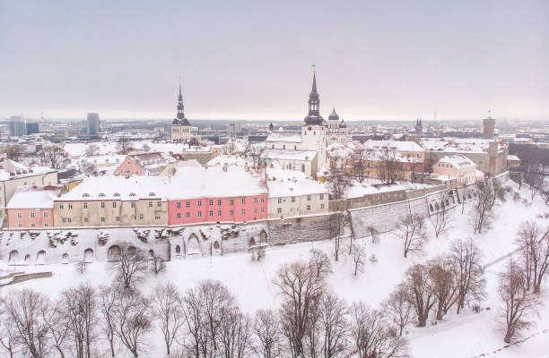aerial view of Tallinn old city in winter stock photo