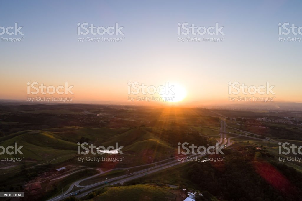 Aerial View of Tamoios Highway in Sao Paulo, Brazil royalty-free stock photo