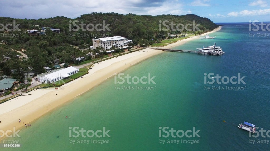 Aerial view of Tangalooma Island stock photo