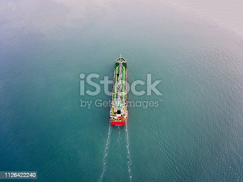 Aerial view of tanker ship carrying oil or gas at sea in Istanbul.