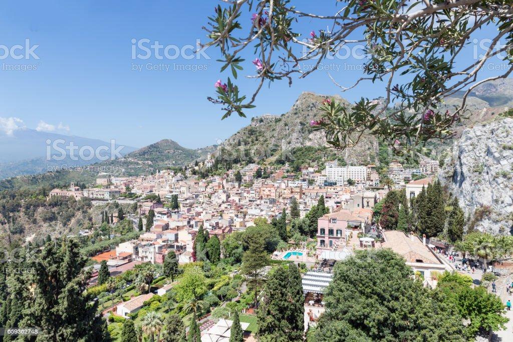Aerial view of Taormina, historic city at the Sicilian coast stock photo