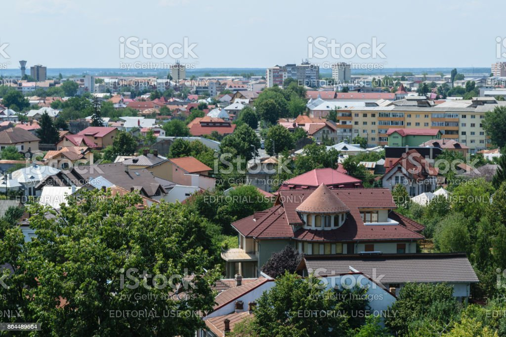 Aerial view of Targoviste city in Dambovita. It was the Romania's capital in the 15th and 16th century. stock photo