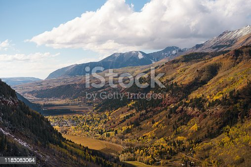 Aerial view of Telluride, Colorado in autumn with surrounding San Juan Mountains. Telluride is a historic mining town and popular ski resort.