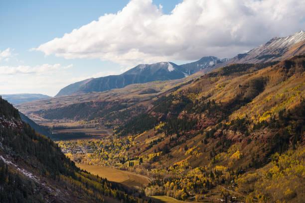 Aerial view of Telluride, Colorado in autumn stock photo
