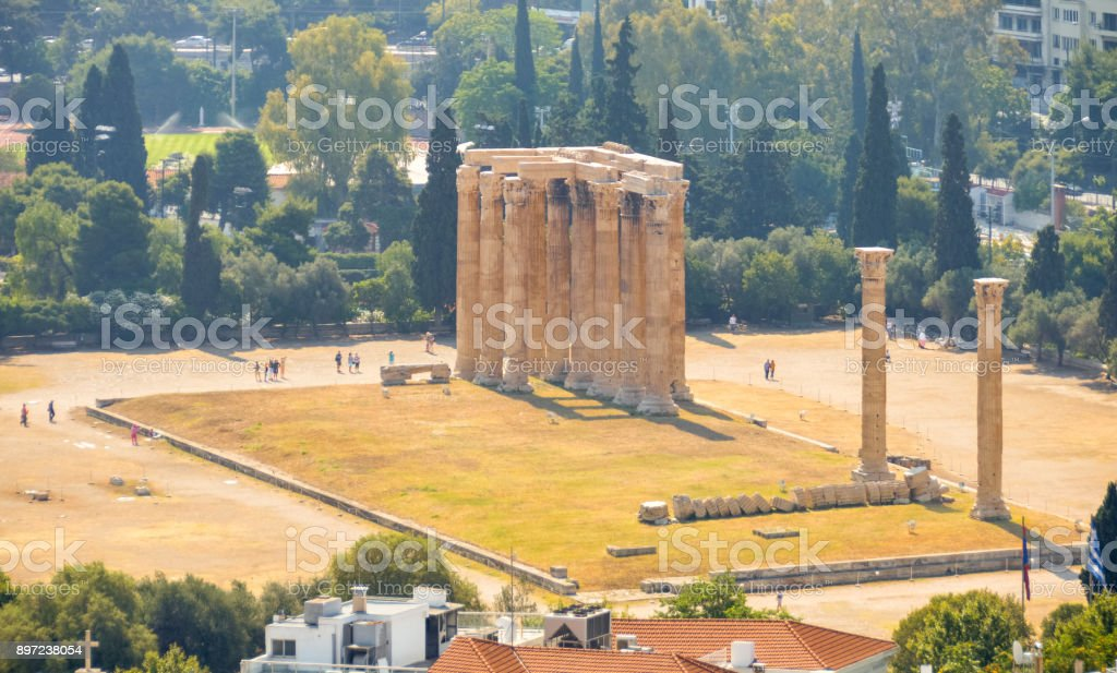 Aerial view of Temple of the Olympian Zeus - Athens, Greece stock photo