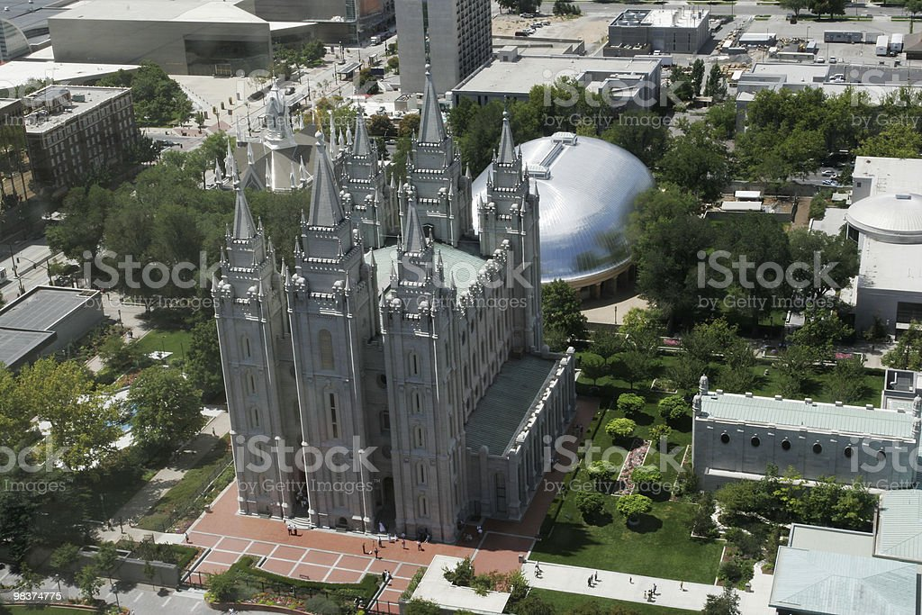 Veduta aerea di temple square, SLC foto stock royalty-free