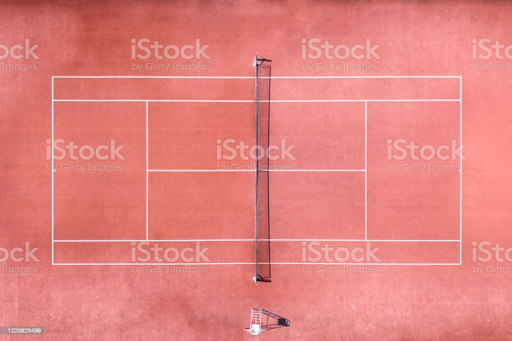 Aerial view of tennis court - Royalty-free Aerial View Stock Photo