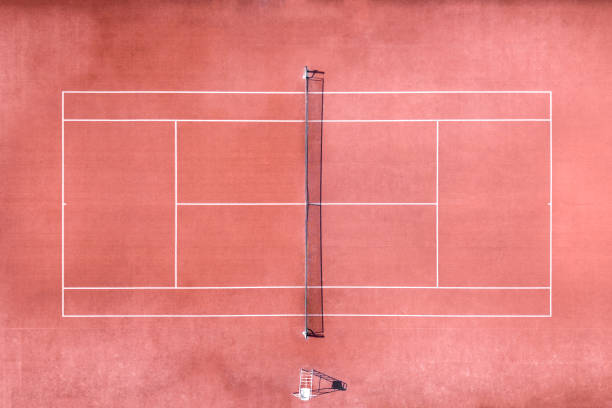 Aerial view of tennis court stock photo