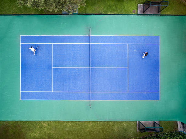 aerial view of tennis court - tennis stock photos and pictures