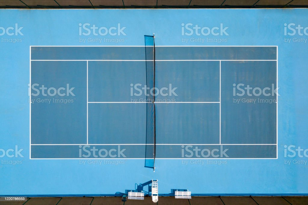 Aerial view of tennis hardcourt - Royalty-free Aerial View Stock Photo