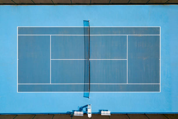 Aerial view of tennis hardcourt stock photo