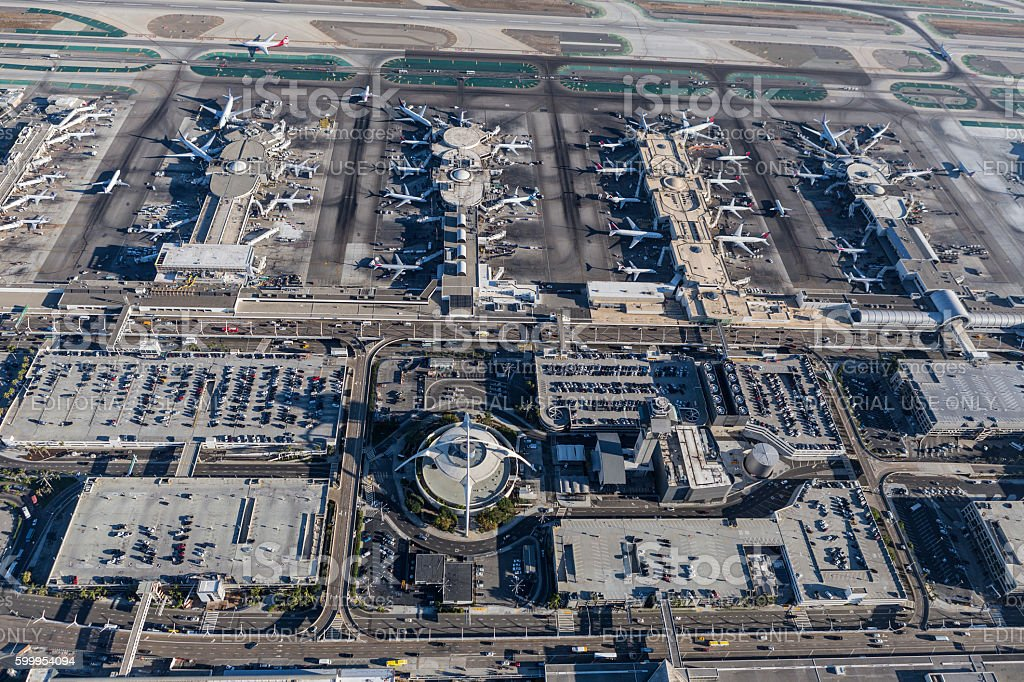 Aerial View of Terminals at LAX stock photo