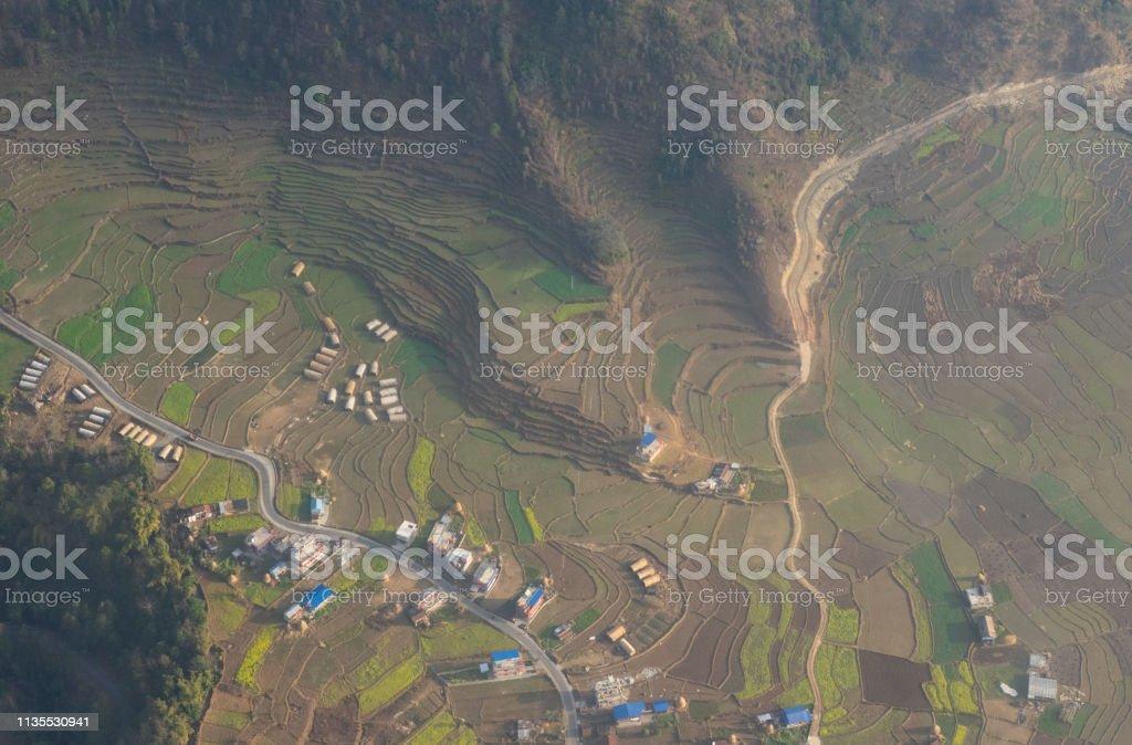 Vista Aérea De Tierras De Cultivo En Terrazas Foto De Stock