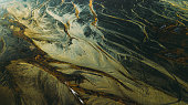 Aerial view of textured volcanic landscape in South Iceland