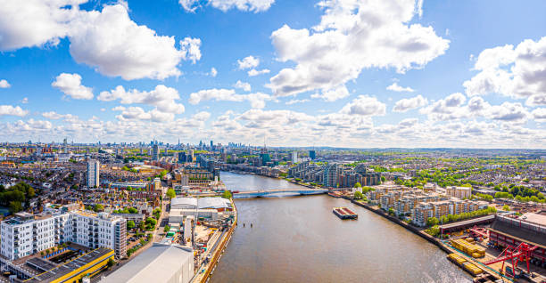 Aerial view of Thames in Fullham in the morning, London, UK stock photo