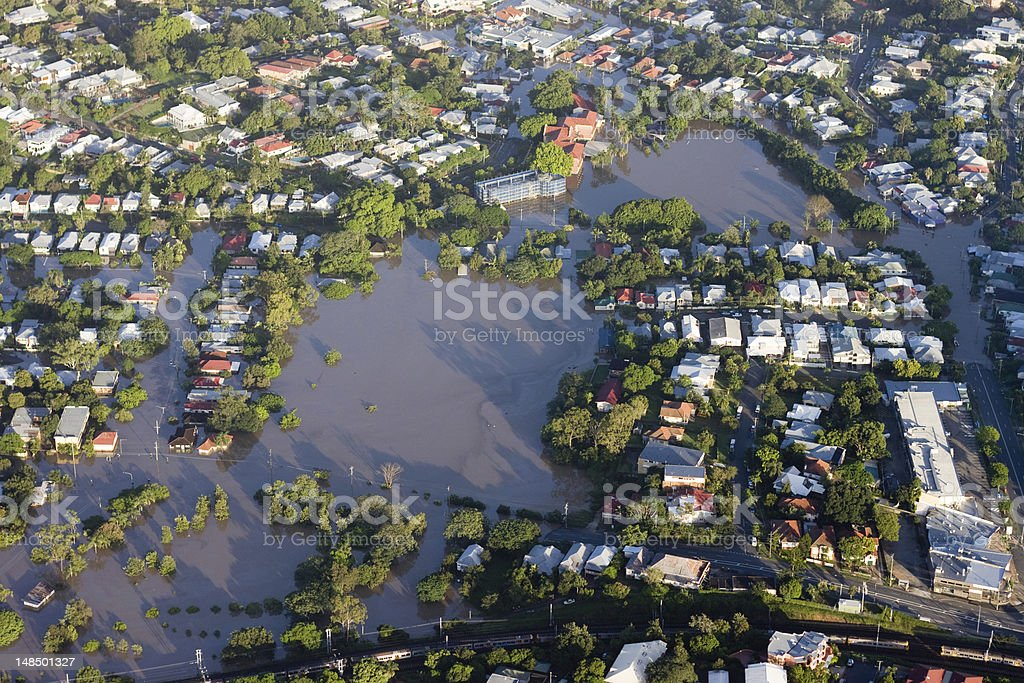 Aerial view of the 2011 Brisbane river flood stock photo
