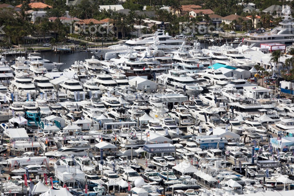 Aerial view of the 2017 Fort Lauderdale Boat show stock photo