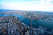 An overhead view of the Three Bridges in Lower Manhattan